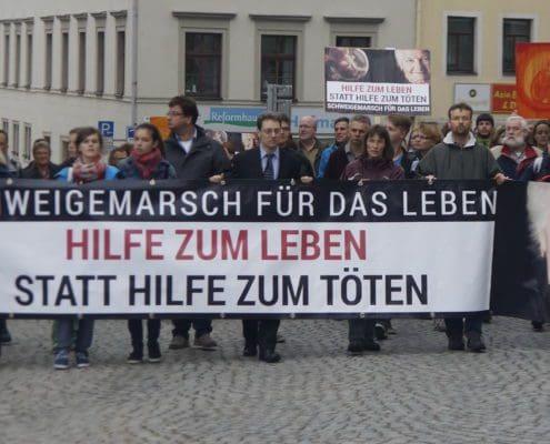 Rund 650 Christen demonstrierten 2015 für das Lebensrecht ungeborener Kinder, Alter und Kranker. Foto: Uwe Zenker